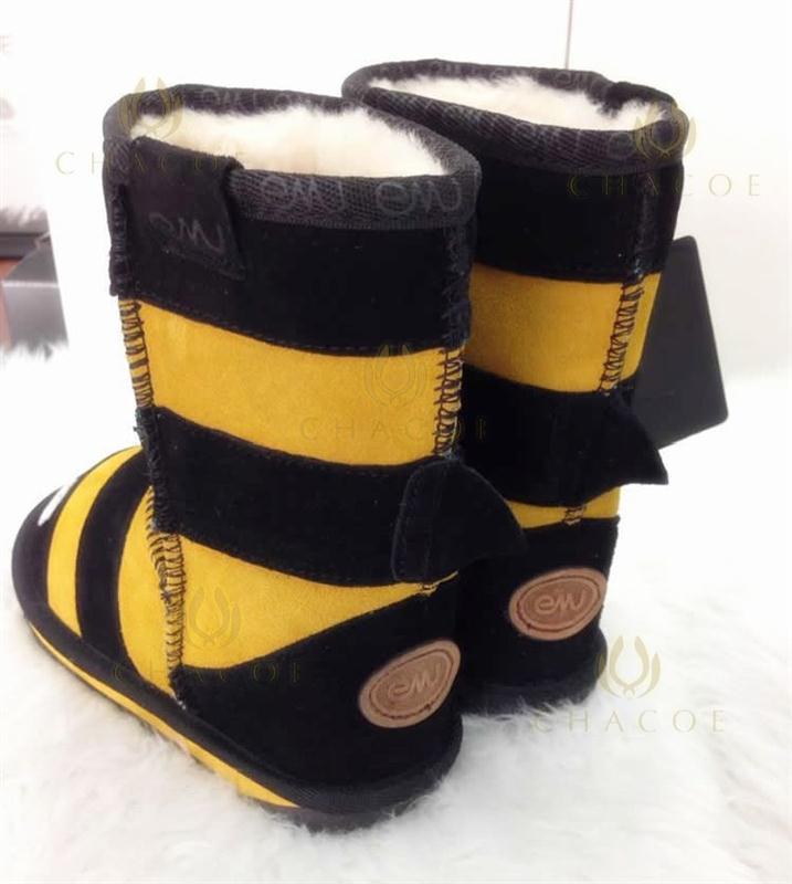 澳洲直邮正品emu 儿童雪地靴 小蜜蜂 中筒 儿童动物雪地靴