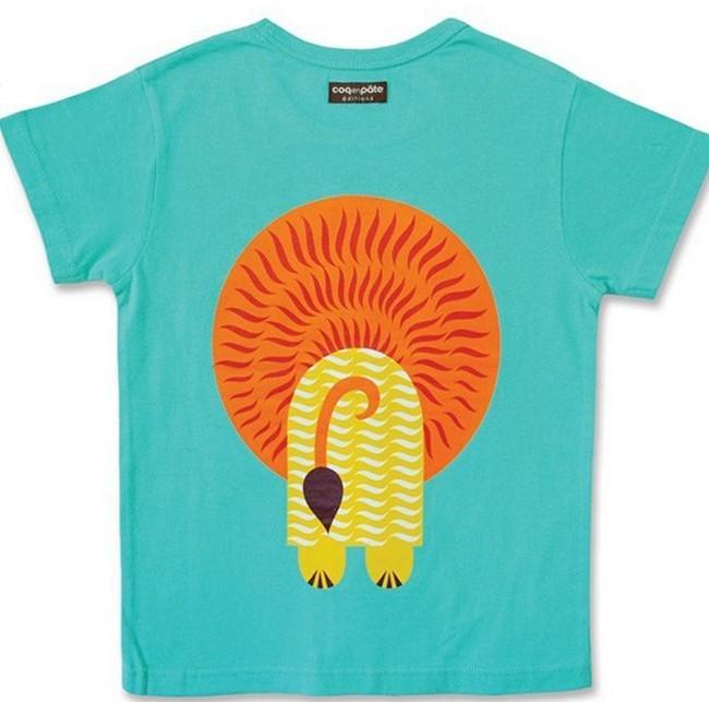 天然有机童装 短袖蓝色小狮子t恤