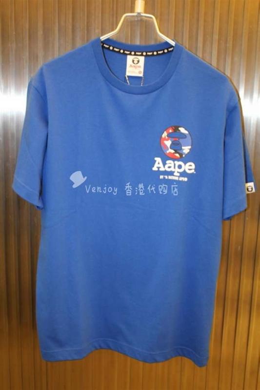 venjoy香港直邮aape男15夏品牌圆形标五角星字母短袖t恤79折包邮