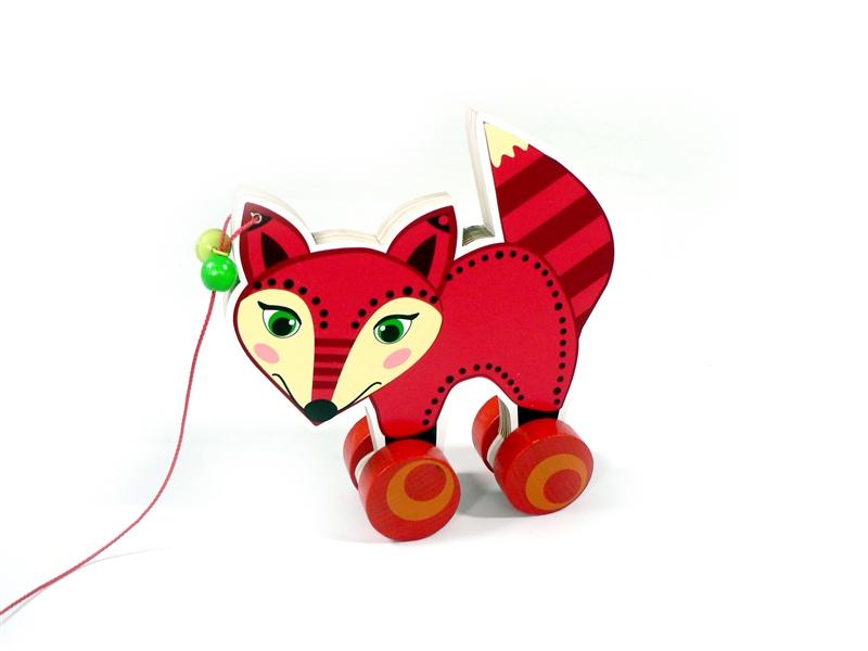 德国hess 木制玩具会走的狐狸 带轮子拉绳玩具礼物装饰品绘画模板