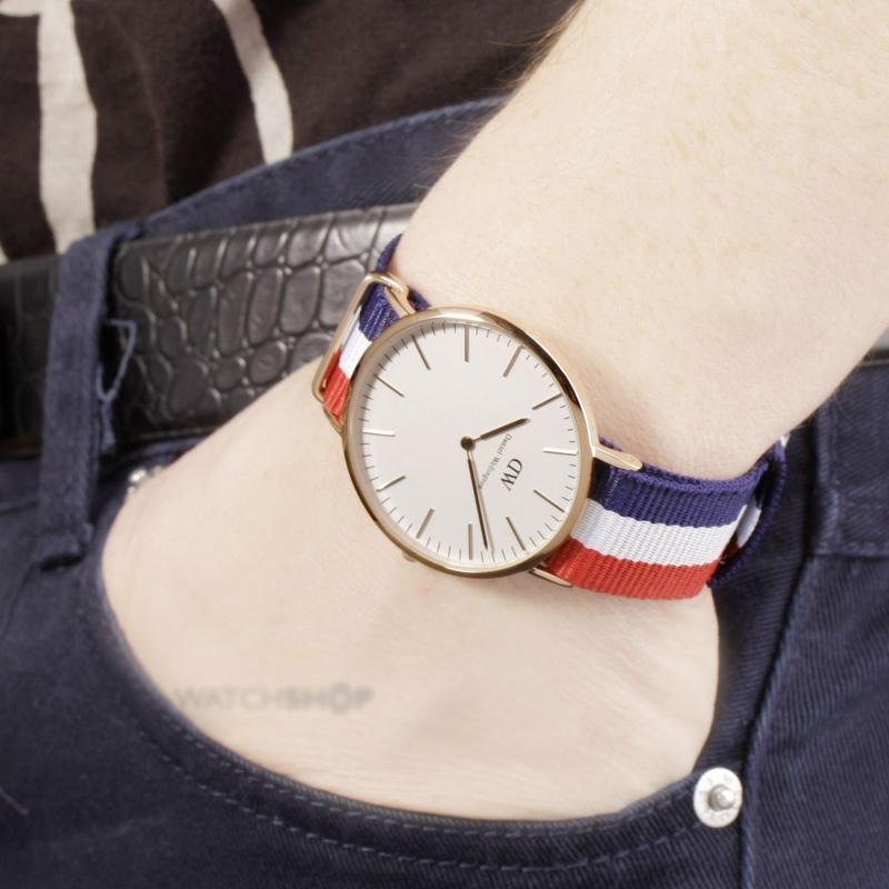 经典dw尼龙三色表带手表