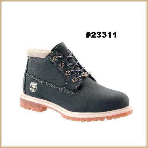 美国ampm~timberland 女版黑白色真皮短靴~ 23311