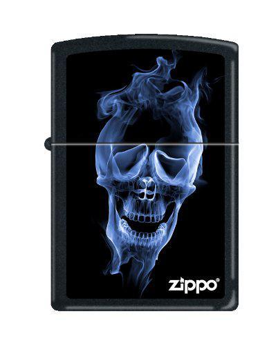zippo芝宝 蓝色火焰骷髅头黑色哑光打火机blue skull