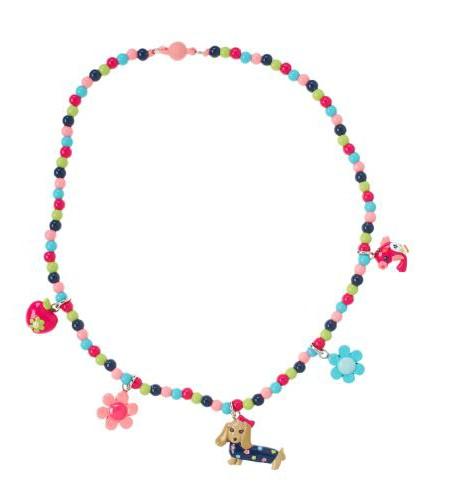 可爱小狗小鸟彩色珠子儿童首饰项链