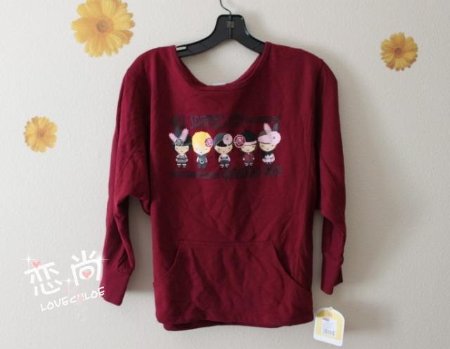 原宿少女系列超可爱娃娃图案暗红色韩版薄款卫衣