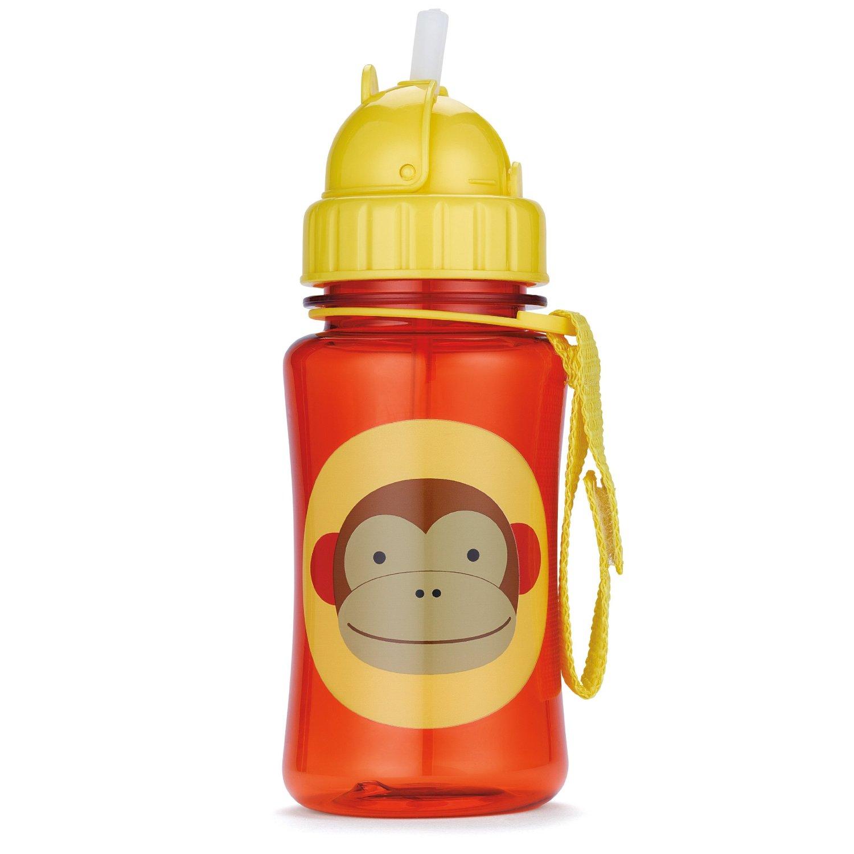 美国skip hop宝宝学饮杯动物图案防漏吸管杯350ml 调皮猴