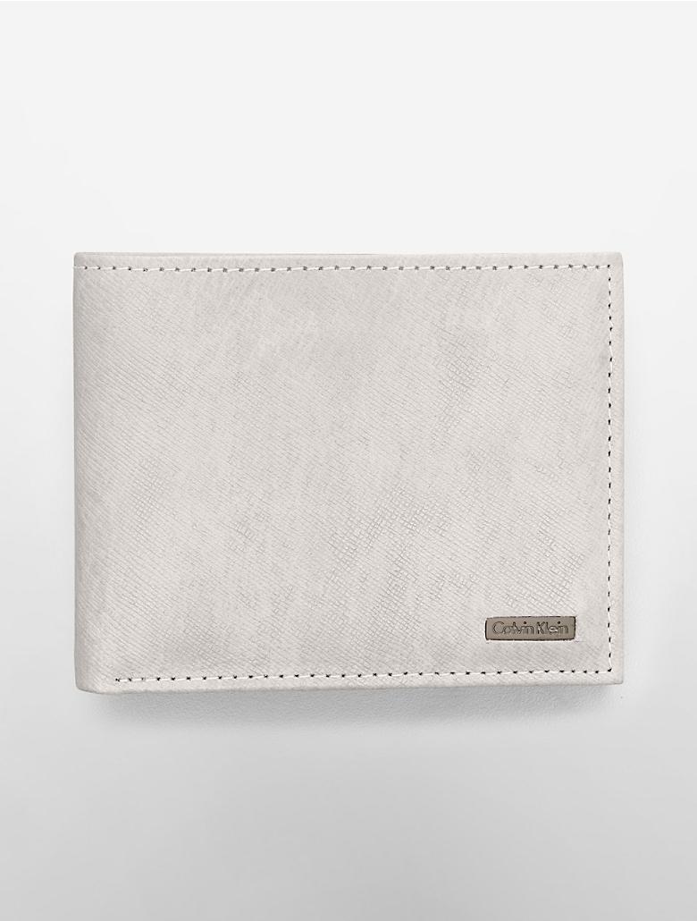 凯文 克莱/Calvin Klein CK 凯文克莱压花短款男士钱包46009346 (银白色)...