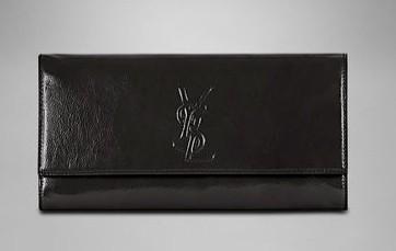 ysl圣罗兰ysl logo黑色漆皮手包