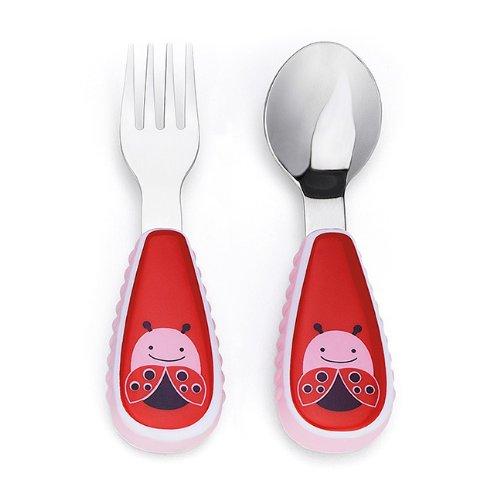 美国skip hop 可爱动物园餐具叉和勺 - 红瓢虫
