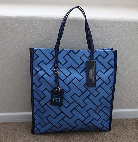 北京现货t*mmy h*lfiger女士蓝色coach风格帆布单肩包图片