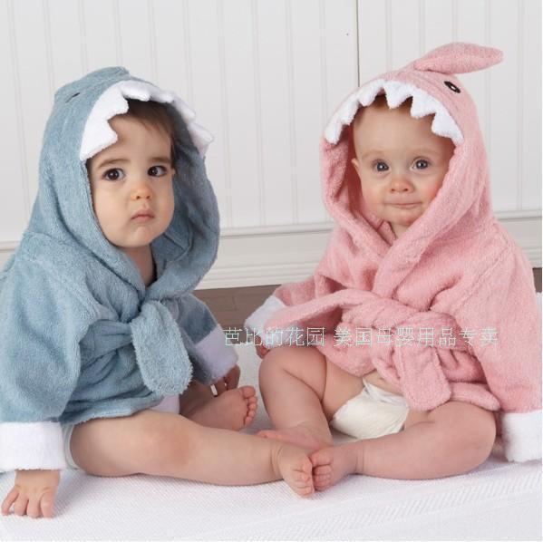 美国baby aspen顶级宝宝浴袍 婴儿浴巾 可爱的小鲨鱼