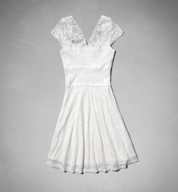 af白色/粉色蕾丝连衣裙