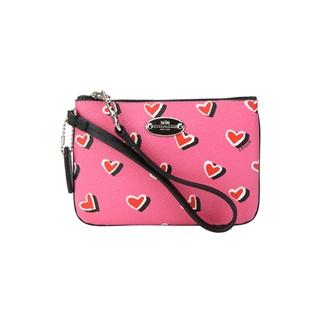 女款桃红色爱心pvc手包零钱包