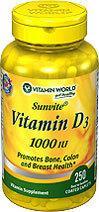 免运费包美国直邮Vitamin World维生素D3促进骨骼生长1000IU250粒