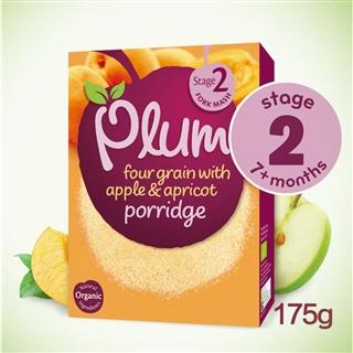 英国直邮PlumBaby有机辅食四种谷物苹果米粉7m【免敏】