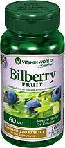 免运费!包美国直邮VITAMIN WORLD成人越橘蓝莓素60mg 100粒