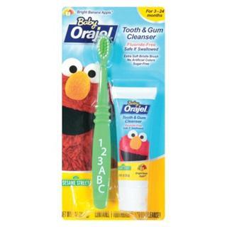 Baby Orajel欧乐 无氟可吞咽儿童牙膏牙刷套装28.3克