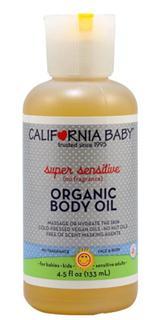 新包装 美国California baby加州宝宝有机抗过敏按摩油135ml