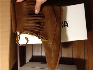 美国直邮 Minnetonka唐卡真皮流苏系带女短靴