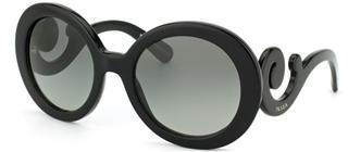 美国正品代购 PRADA浮云太阳镜 明星同款 黑色圆框渐变 包邮包税