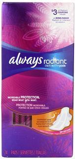 美国直邮 Always Radiant Infinity 超薄护翼卫生巾(夜用) 清香型24片