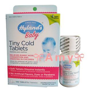 包美国直邮!Hyland'sbaby顺势疗法全天然感冒婴幼儿小片125