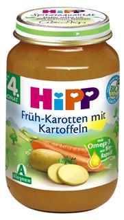 德国原装Hipp 喜宝 辅食 有机嫩胡萝卜土豆泥 4月+ 190g  肉菜