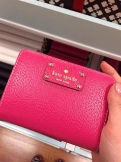 kate spade 玫红短款钱包