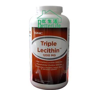 包美国直邮GNC 三重卵磷脂Lecithin胶囊1200mg 180粒
