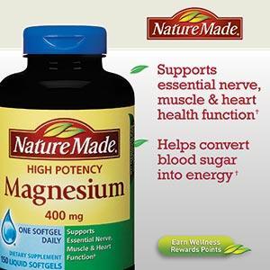 美国直邮Nature Made Magnesium液体镁元素矿物质400mg 150粒