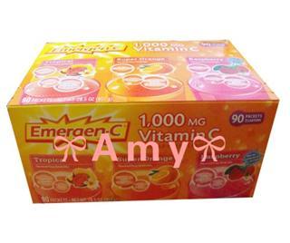 包美国直邮!Emergen-c天然维生素C1000mg 90包冲剂水果口味