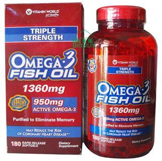 包美国直邮! 美国vitamin world 三倍深海鱼油 180粒