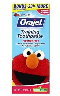 【代购直邮】Orajel 欧乐幼儿无氟可吞咽儿童牙膏(水果味)1.5 oz