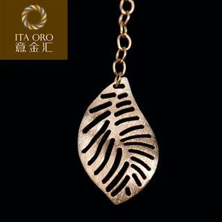 意金汇 意大利 18k金树叶形图案耳饰 意金汇 金银饰品