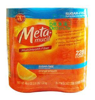 包美国直邮!Metamucil美达施橙味纯天然膳食纤维粉无糖型 2瓶装