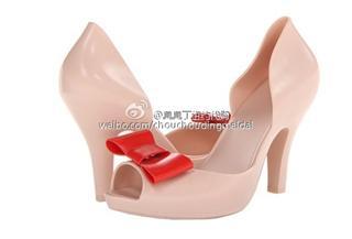 melissa香香鞋有跟,裸色配红色蝴蝶结·美码5起(拍下备注尺码)