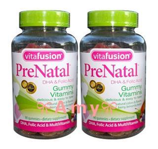 任2件包美国直邮!VitaFusion孕妇软糖DHA叶酸多种维生素90粒