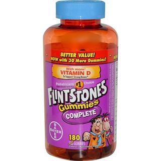 包美国直邮拜耳Flintstones儿童复合维生素+维生素D软糖 180粒