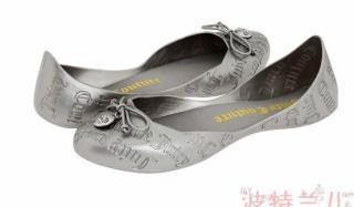 美国直邮JUICY COUTURE橘姿压花YOKO可爱心标硅胶平底船鞋包邮!