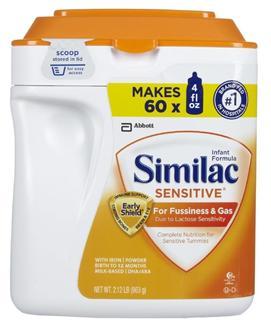 (美国直邮) 雅培无乳糖 防过敏防涨气奶粉Sensitive1段一段 963克
