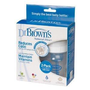 美国直邮Dr Brown's布朗博士不含BPA塑料宽口奶瓶4oz/120ml2只入