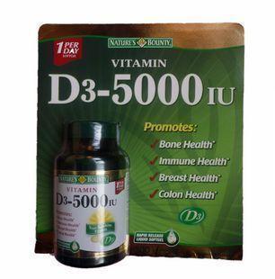 免运费!包美国直邮Nature's  D3-5000 IU自然之宝 300粒