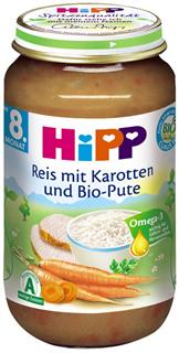 德国原装Hipp喜宝辅食 有机胡萝卜大米火鸡泥 8月+ 220g  蔬肉泥