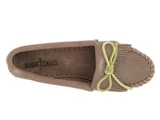 美国代购 Minnetonka迷你唐卡Kilty Moccasin麂皮豆豆彩色底鞋
