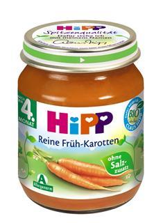 德国原装Hipp 喜宝 辅食 有机纯嫩胡萝卜泥 4月+ 125g  蔬菜泥