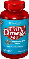 免运费包美国直邮vitamin worldOmega3-6-9苣油亚麻籽油鱼油120粒
