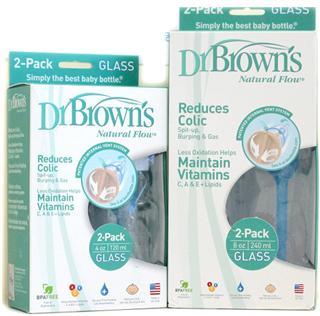 美国直邮Dr Brown's 布朗博士玻璃标准奶瓶8oz/240ml (2packs)