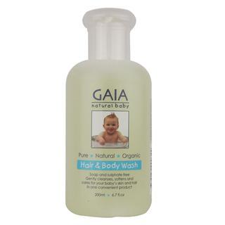 澳洲直邮GAIA有机婴儿宝宝无皂无泪配方二合一洗发沐浴露 200ml