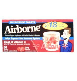 包美国直邮!Airborne 维生素C泡腾片  草莓味 36粒