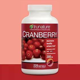 包美国直邮!TruNature天然蔓越莓300mg220粒 泌尿健康
